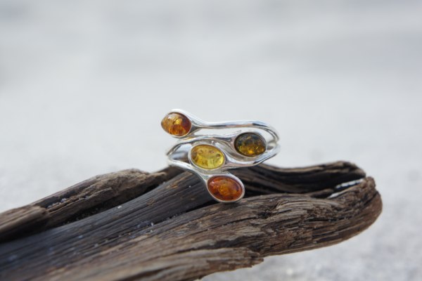4 MULTI COLOR NATURAL GENUINE BALTIC AMBER 925 STERLING SILVER RING