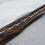Amber Bracelet Sterling Silver Bracelet with 8 oval Genuine Baltic Amber Stones