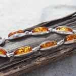 Amber Bracelet in Sterling Silver