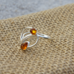 Cute Amber Silver Ring