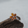 Flower Amber Sterling Silver Ring