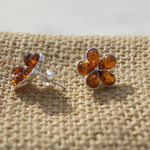 Flower Leaf Amber Earrings