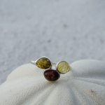 Sterling Silver Ring with 3 Amber Stones