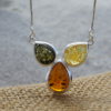 Sterling Silver chain with Multi Color Amber