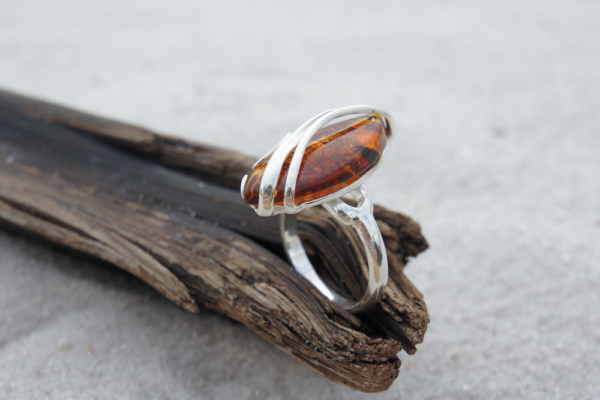 Huge Amber Ring Crafted in Silver