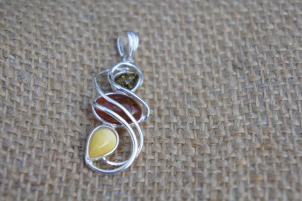 Multicolor Amber Pendant Silver