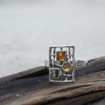 Sterling silver Ring with 3 Multicolor Amber Stones