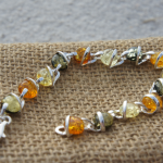 Unique Multicolor Amber Sterling Silver Bracelet